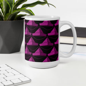 Newspaper Hats Pattern | Pink | Mug-mugs-Eggenland