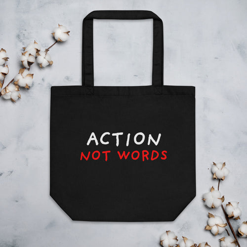 Action Not Words | Eco Tote Bag-tote bags-Black-Eggenland