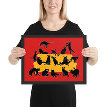Load image into Gallery viewer, Black Cats Party | Red | Illustration | Framed Poster-framed posters-Black-12×16-Eggenland