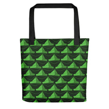 Load image into Gallery viewer, Newspaper Hats Pattern | Green | Tote Bag-tote bags-Black-Eggenland