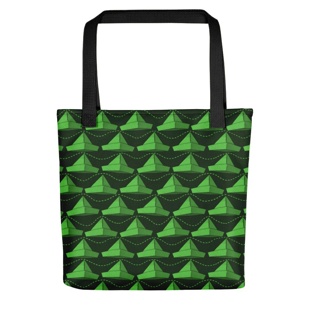Newspaper Hats Pattern | Green | Tote Bag-tote bags-Black-Eggenland