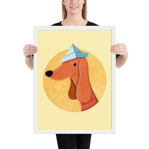 Dog With Newspaper Hat | Yellow | Illustration | Framed Poster-framed posters-White-18×24-Eggenland