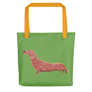 Cute Dachshund Dog | Light Green | Tote Bag-tote bags-Yellow-Eggenland