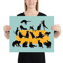 Load image into Gallery viewer, Black Cats Party | Blue | Illustration | Poster-posters-16×20-Eggenland