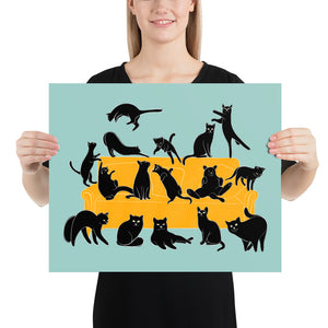 Black Cats Party | Blue | Illustration | Poster-posters-16×20-Eggenland