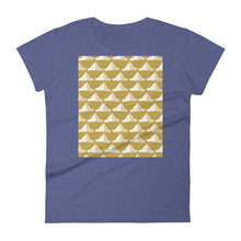 Load image into Gallery viewer, Paper Hats Pattern | Golden | Women's Short-Sleeve T-Shirt-t-shirts-Heather Blue-S-Eggenland