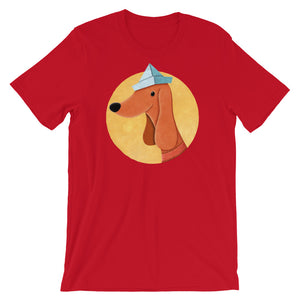 Dog With Newspaper Hat | Short-Sleeve Unisex T-Shirt-t-shirts-Red-S-Eggenland