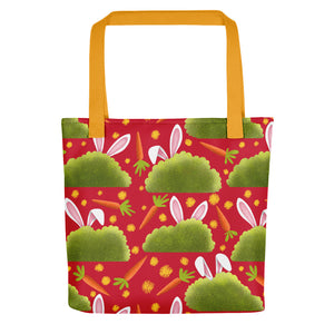 Rabbits and Carrots | Red | Tote Bag-tote bags-Yellow-Eggenland