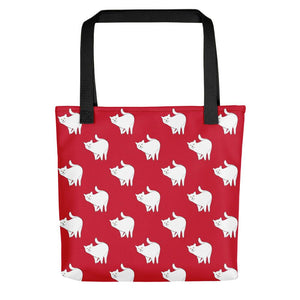 Cute Cat Pattern | Red and White | Tote Bag-tote bags-Black-Eggenland