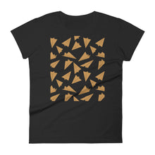 Load image into Gallery viewer, Paper Planes Pattern | Golden | Women's Short-Sleeve T-Shirt-t-shirts-Black-S-Eggenland