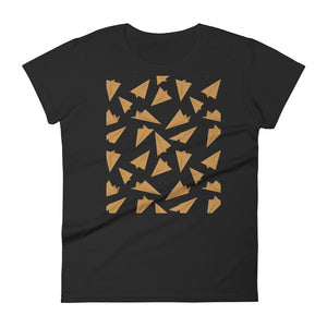 Paper Planes Pattern | Golden | Women's Short-Sleeve T-Shirt-t-shirts-Black-S-Eggenland