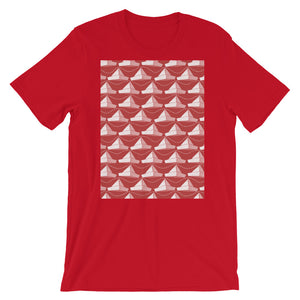Paper Hats Pattern | Red | Short-Sleeve Unisex T-Shirt-t-shirts-Red-S-Eggenland