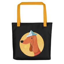 Load image into Gallery viewer, Dog with Paper Hat | Black | Tote Bag-tote bags-Yellow-Eggenland