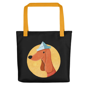 Dog with Paper Hat | Black | Tote Bag-tote bags-Yellow-Eggenland