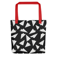 Load image into Gallery viewer, Paper Planes Pattern | Black and White | Tote Bag-tote bags-Red-Eggenland