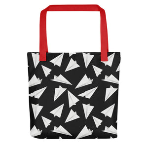 Paper Planes Pattern | Black and White | Tote Bag-tote bags-Red-Eggenland