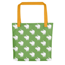Load image into Gallery viewer, Cute Cat Pattern | Green and White | Tote Bag-tote bags-Yellow-Eggenland