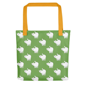 Cute Cat Pattern | Green and White | Tote Bag-tote bags-Yellow-Eggenland