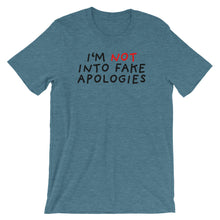 Load image into Gallery viewer, Fake Apologies | Short-Sleeve Unisex T-Shirt-t-shirts-Heather Deep Teal-S-Eggenland