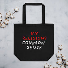 Load image into Gallery viewer, Common Sense | Eco Tote Bag-tote bags-Black-Eggenland