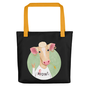 Wow Cow | Black | Tote Bag-tote bags-Yellow-Eggenland