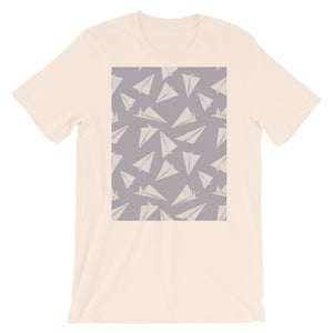 Paper Planes Pattern | Violet | Short-Sleeve Unisex T-Shirt-t-shirts-Soft Cream-S-Eggenland