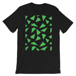 Paper Planes Pattern | Green | Short-Sleeve Unisex T-Shirt-t-shirts-Black-S-Eggenland
