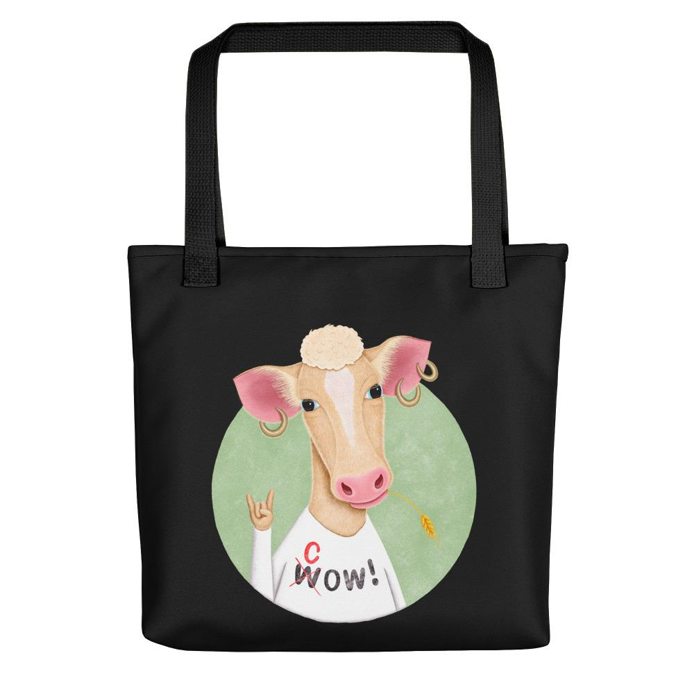 Wow Cow | Black | Tote Bag-tote bags-Black-Eggenland