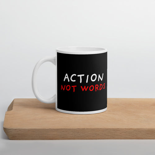 Actions Not Words | Black | Mug-mugs-11oz-Eggenland