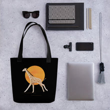 Load image into Gallery viewer, Giraffe and Sun | Black | Tote Bag-tote bags-Eggenland