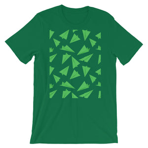 Paper Planes Pattern | Green | Short-Sleeve Unisex T-Shirt-t-shirts-Kelly-S-Eggenland