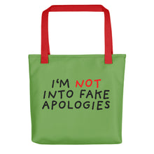 Load image into Gallery viewer, Fake Apologies | Green | Tote Bag-tote bags-Red-Eggenland