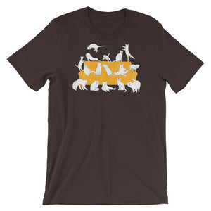Cats Party | Short-Sleeve Unisex T-Shirt-t-shirts-Brown-S-Eggenland