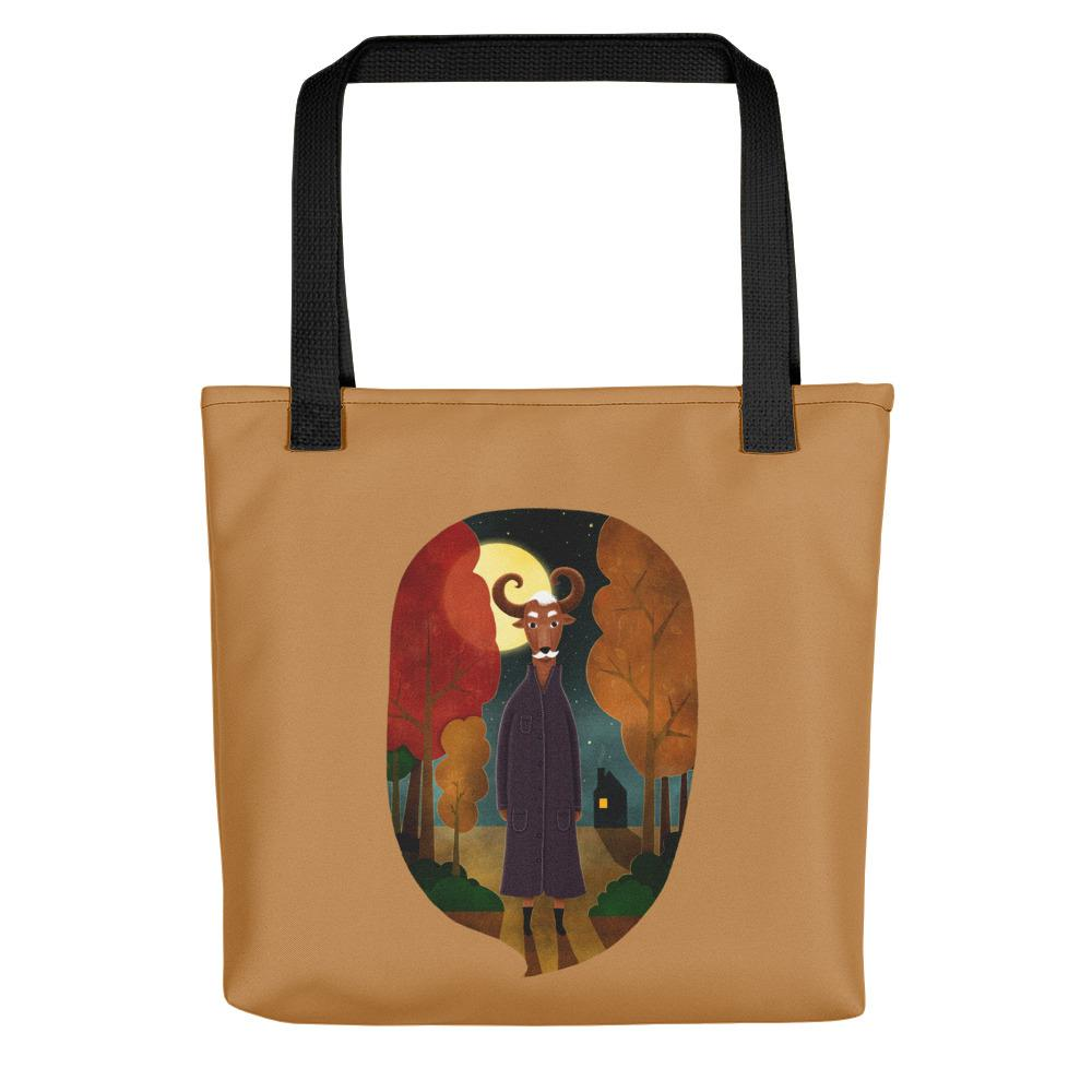 Deer Creature at Night | Light Brown | Tote Bag-tote bags-Black-Eggenland