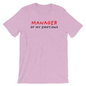 Manager of My Emotions | Short-Sleeve Unisex T-Shirt-t-shirts-Heather Prism Lilac-S-Eggenland