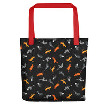Load image into Gallery viewer, Funky Cats Pattern | Black | Tote Bag-tote bags-Red-Eggenland