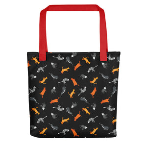 Funky Cats Pattern | Black | Tote Bag-tote bags-Red-Eggenland
