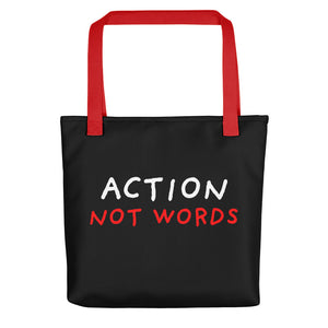 Action Not Words | Black | Tote Bag-tote bags-Red-Eggenland