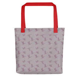 Flying Birds Pattern | Violet | Tote Bag-tote bags-Red-Eggenland