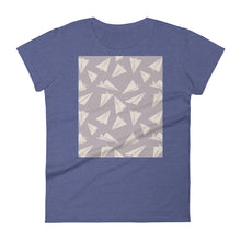 Load image into Gallery viewer, Paper Planes Pattern | Violet | Women's Short-Sleeve T-Shirt-t-shirts-Heather Blue-S-Eggenland