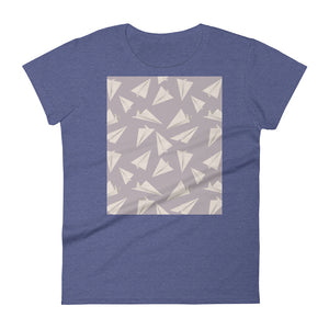 Paper Planes Pattern | Violet | Women's Short-Sleeve T-Shirt-t-shirts-Heather Blue-S-Eggenland