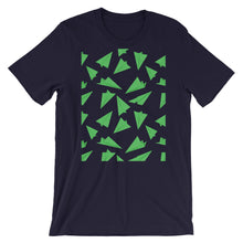 Load image into Gallery viewer, Paper Planes Pattern | Green | Short-Sleeve Unisex T-Shirt-t-shirts-Navy-M-Eggenland