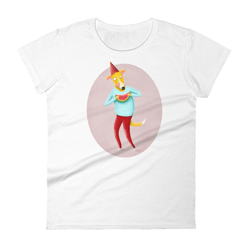 Dog with Watermelon | Women's Short-Sleeve T-Shirt-t-shirts-White-S-Eggenland