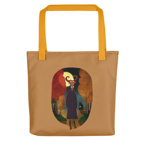 Deer Creature at Night | Light Brown | Tote Bag-tote bags-Yellow-Eggenland