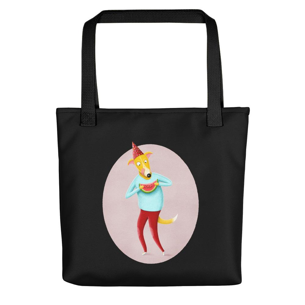 Dog with Watermelon | Black | Tote Bag-tote bags-Black-Eggenland