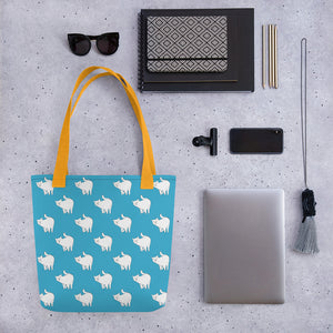 Cute Cat Pattern | Blue and White | Tote Bag-tote bags-Eggenland