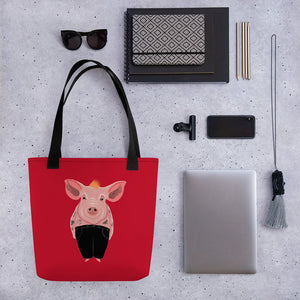 Cool Pig with Tattoos | Red | Tote Bag-tote bags-Eggenland