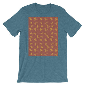 Flying Birds Pattern | Red | Short-Sleeve Unisex T-Shirt-t-shirts-Heather Deep Teal-S-Eggenland