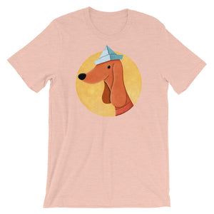 Dog With Newspaper Hat | Short-Sleeve Unisex T-Shirt-t-shirts-Heather Prism Peach-S-Eggenland