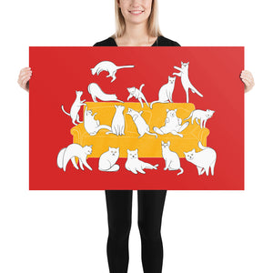 Cats Party | Red | Poster-posters-24×36-Eggenland